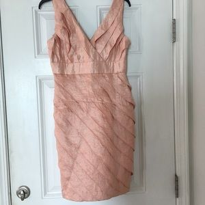 London Times Ruffle Vneck Petites Dress Peach L